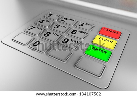 Closeup of an ATM machine. Metal Keyboard detail. - stock photo