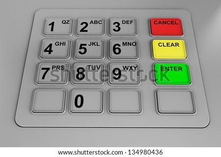 Closeup of an ATM machine. Metal Keyboard detail. - stock photo
