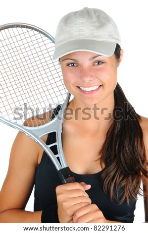 Closeup of an attractive young female tennis player with racket over her shoulder. Vertical format isolated on white. - stock photo