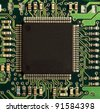 Closeup of an integrated electronic circuit board with a large processor - stock photo