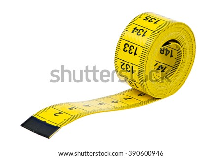 Closeup of an isolated yellow measuring tape