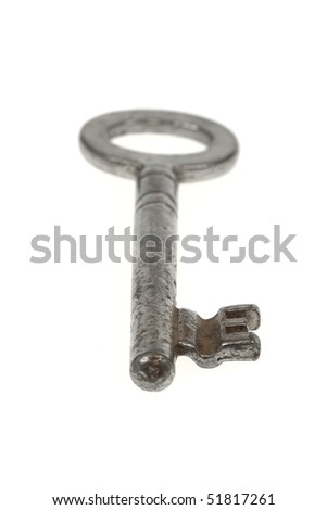 Closeup of an old key, showing heavy usage marks. Isolated on white. - stock photo