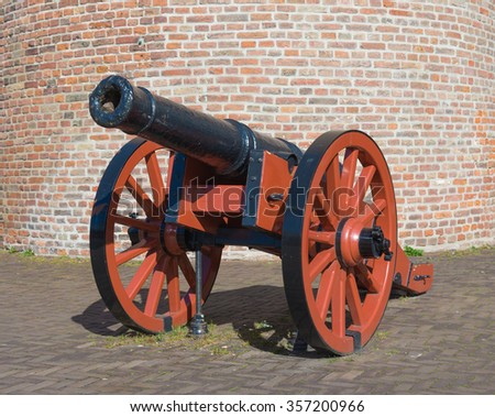 closeup of an old medieval cannon in zwolle, netherlands - stock photo