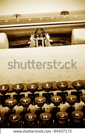 closeup of an old typewriter - stock photo