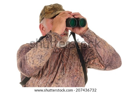 closeup of an older Hunter looking for game, isolated on a white background - stock photo