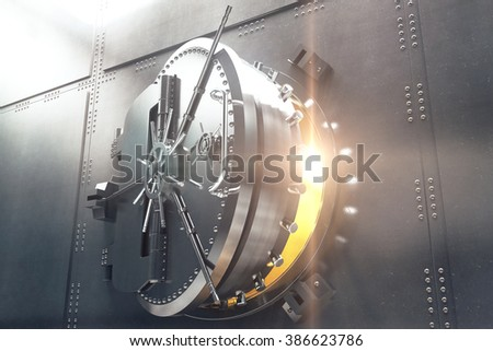 Closeup of an open bank vault door with golden light peeking from inside. 3D Render - stock photo