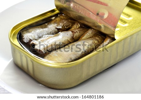 closeup of an open can of sardines in a plate - stock photo