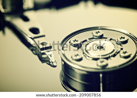 Closeup of an open computer hard drive