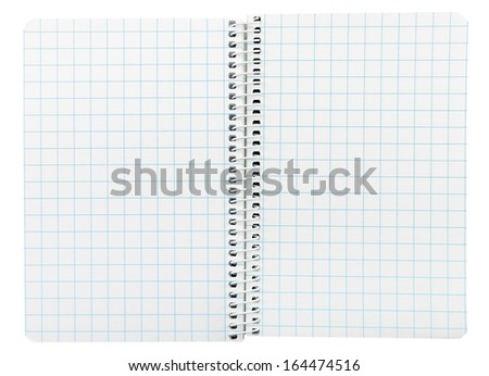 Closeup of an open spiral bound notebook