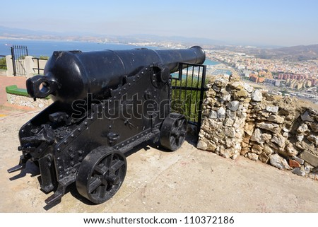 closeup of ancient cannon above Gibraltar - stock photo