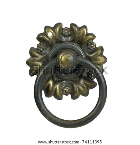 closeup of antique drawer door handle on a white background - stock photo