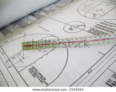 Closeup of architectural drawings for a basketball court - stock photo