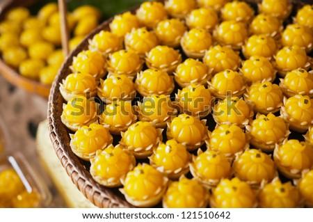 closeup of artificial thai desserts - stock photo