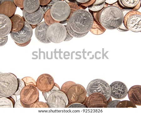 Closeup of assorted American coins on plain white background. Copy space - stock photo