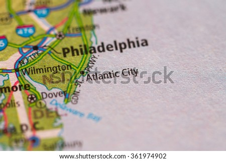 Closeup of Atlantic City on a geographical map. - stock photo