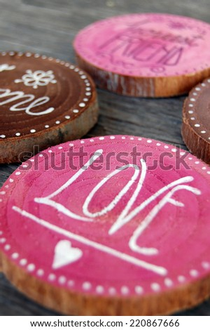 closeup of Badges with words, love, honest friend - stock photo