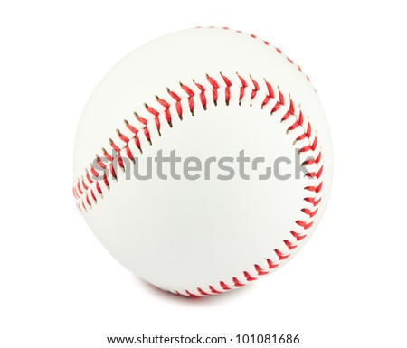Closeup of baseball ball isolated on white background - stock photo