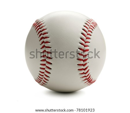 Closeup of baseball isolated on white with clipping path. - stock photo