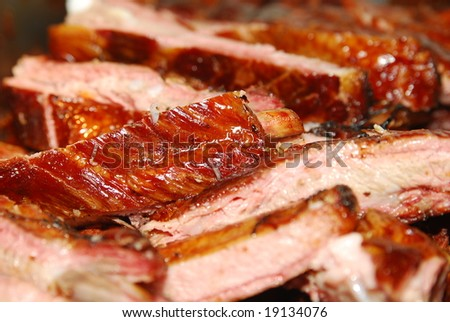 Closeup of BBQ ribs - stock photo