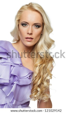 Closeup of beautiful blond female with  beautiful hair, over white background - stock photo
