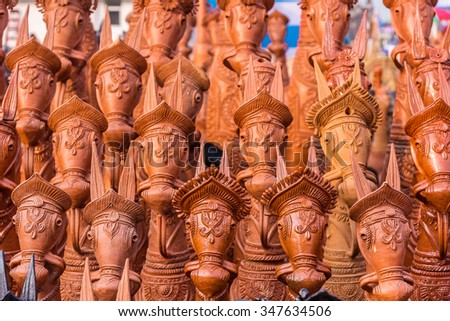 Closeup of beautiful clay horses from Bankura village in West Bengal, India - stock photo