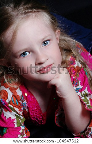 Closeup of Beautiful little girl - Head Shot with Black background