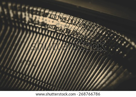 closeup of beautiful old typewriter letters