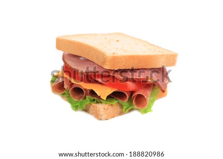 Closeup of beautiful sandwich. Isolated on a white background.