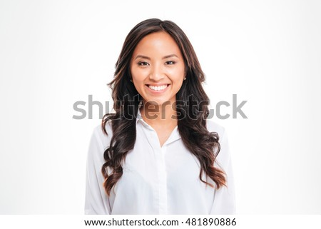 Closeup of beautiful smiling asian young businesswoman over white background