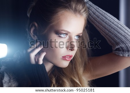Closeup of beautiful woman model. Health, cosmetic and make-up.