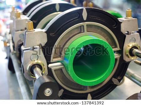Closeup of big pipeline manufacturing - stock photo