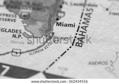 Closeup of Biscayne National Park, Florida on a geographical map. (black and white) - stock photo