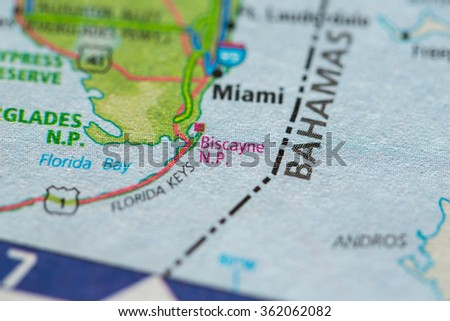 Closeup of Biscayne National Park on a geographical map. - stock photo