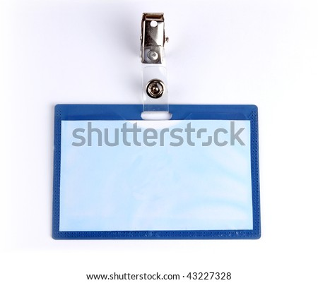 Closeup of Blank badge/ ID card on white background - stock photo