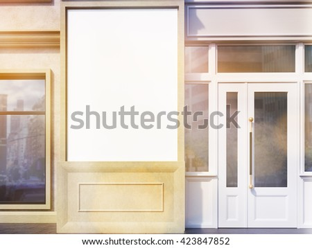 Closeup of blank banner on shop exterior. Toned image. Mock up, 3D rendering - stock photo