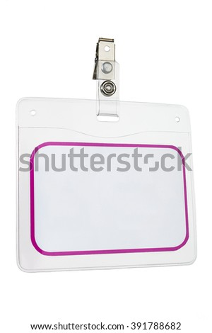 Closeup of blank identity card on white background