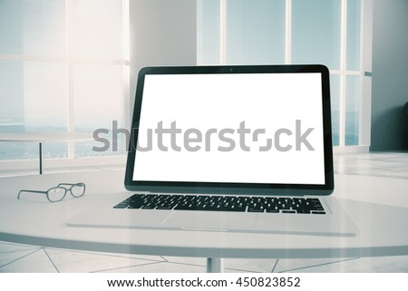 Closeup of blank laptop screen in interior. Mock up, 3D Rendering - stock photo
