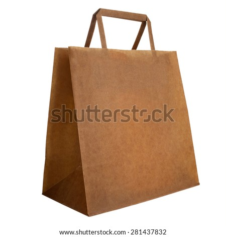 Closeup of blank vintage paper bag isolated on white background - stock photo