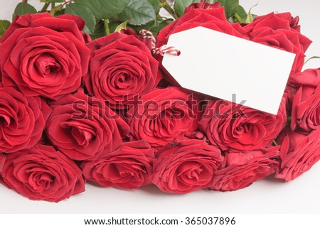 Closeup of blank white tag with bunch of red roses on white - stock photo