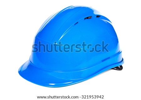 Closeup of blue protective helmet on white background, concept of security and protection at work