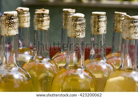 Closeup of bottles with cork
