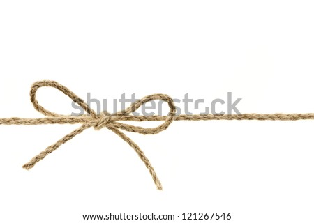 Closeup of braided twine tied in a bow knot isolated on white background - stock photo