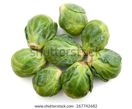 closeup of brussel sprouts on white background  - stock photo