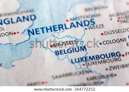closeup of brussels belgium on a political map of europe