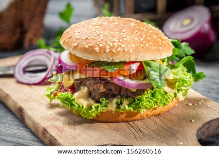 Closeup of burger made �¢??�¢??from vegetables and beaf