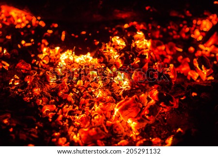 Closeup of burning red fire wood on black background - stock photo