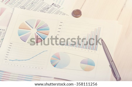 Closeup of business documents on the table. Planning of future work. Working in the office. Concept of the business day. - stock photo