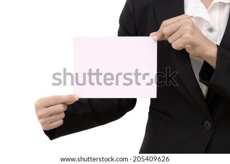 closeup of business woman holding a blank paper sheet with both hands isolated on white