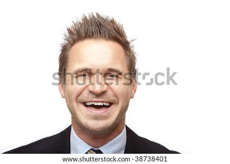 Closeup of businessman looking positive. Isolated on white background - stock photo