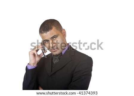 Closeup of businessman making a telephone call. Isolated on white. - stock photo